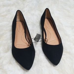 Sz 11 Black Suede Fabric Flats